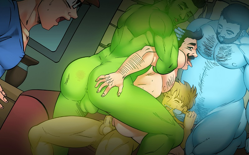 gaymer sex orgy in gay harem